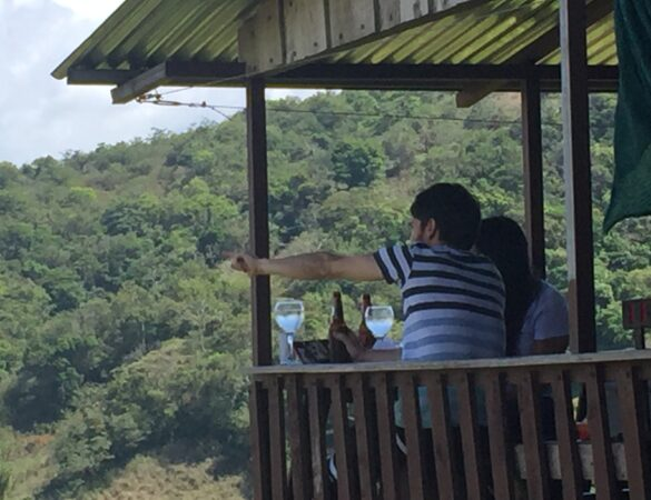 Drinking wine and beer with sight from mountains in Costa Rica